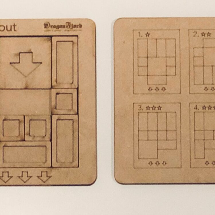 Breakout sliding block puzzle. Many challenges from 13 moves to over 100!